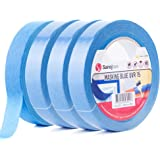 Sanojtape Blue Masking Tape Pro (4-Pack) 25mm x 50m | Professional Masking Tape | UV-Resistant Up to 14 Days Outdoor | for Indoor & Outdoor Masking Painters Tape