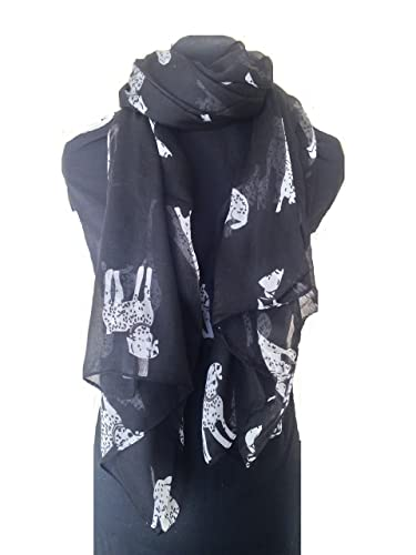 Bufanda negro con diseño dalmatian grande del perro. -- Black BIG dalmation dog scarf/ wrap.