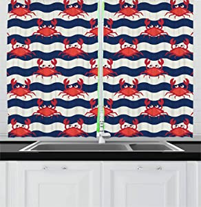 Ambesonne Crabs Kitchen Curtains, Nautical Maritime Theme Cute Crabs on Striped Background Illustration Print, Window Drapes 2 Panel Set for Kitchen Cafe, 55 W X 39 L Inches, Red and Navy Blue