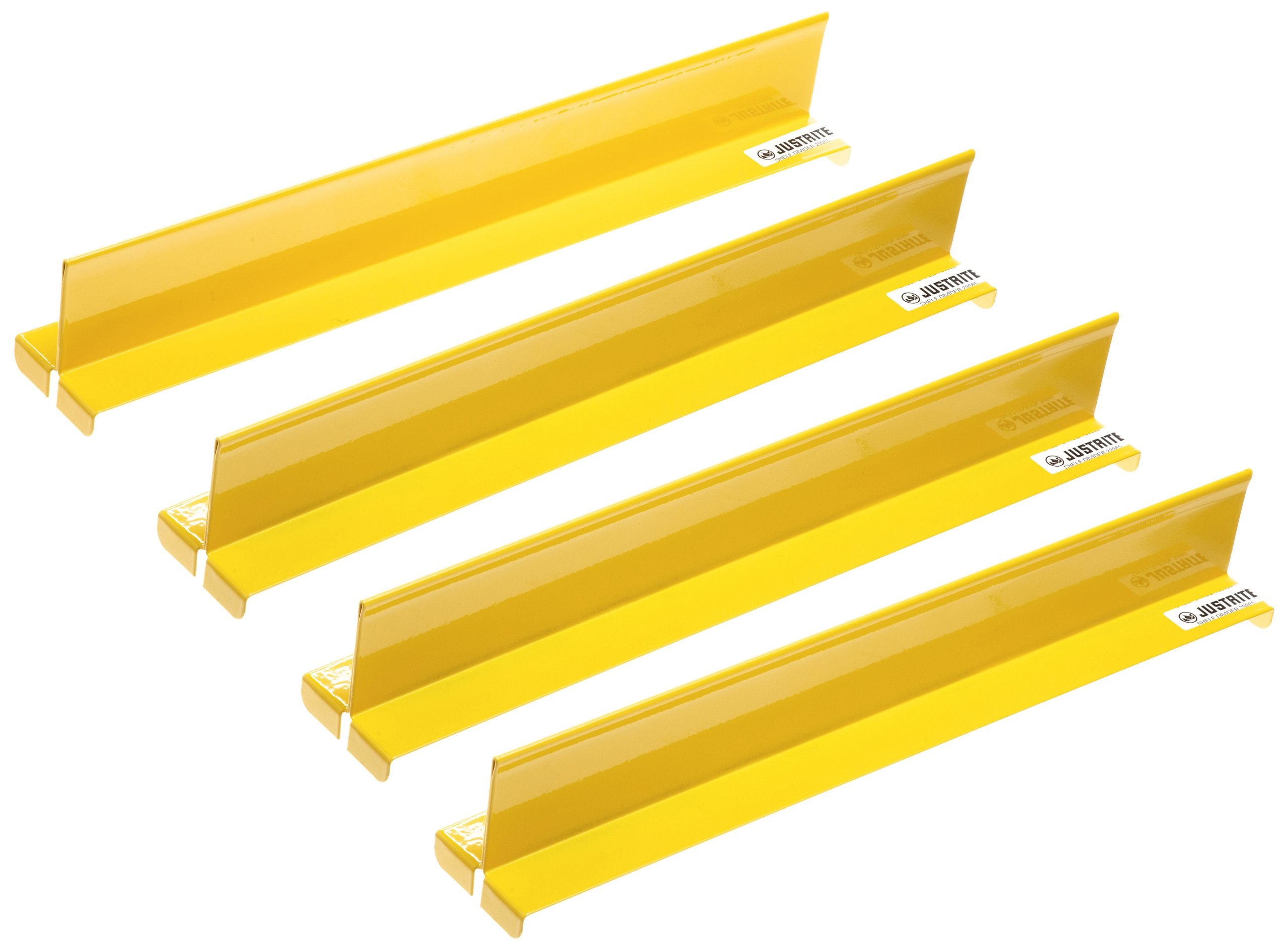 Justrite 29985 4 Piece Yellow Steel Shelf Divider Set for Cabinets, 14-5/32'' Length x 2'' Width x 2-1/64'' Height