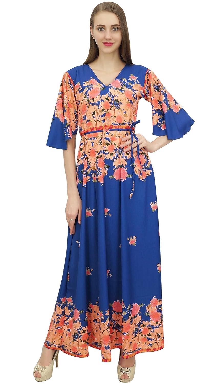 Bimba Frauen Casual Floral Digital gedruckt lange schwarze Maxi Designer-Kleid