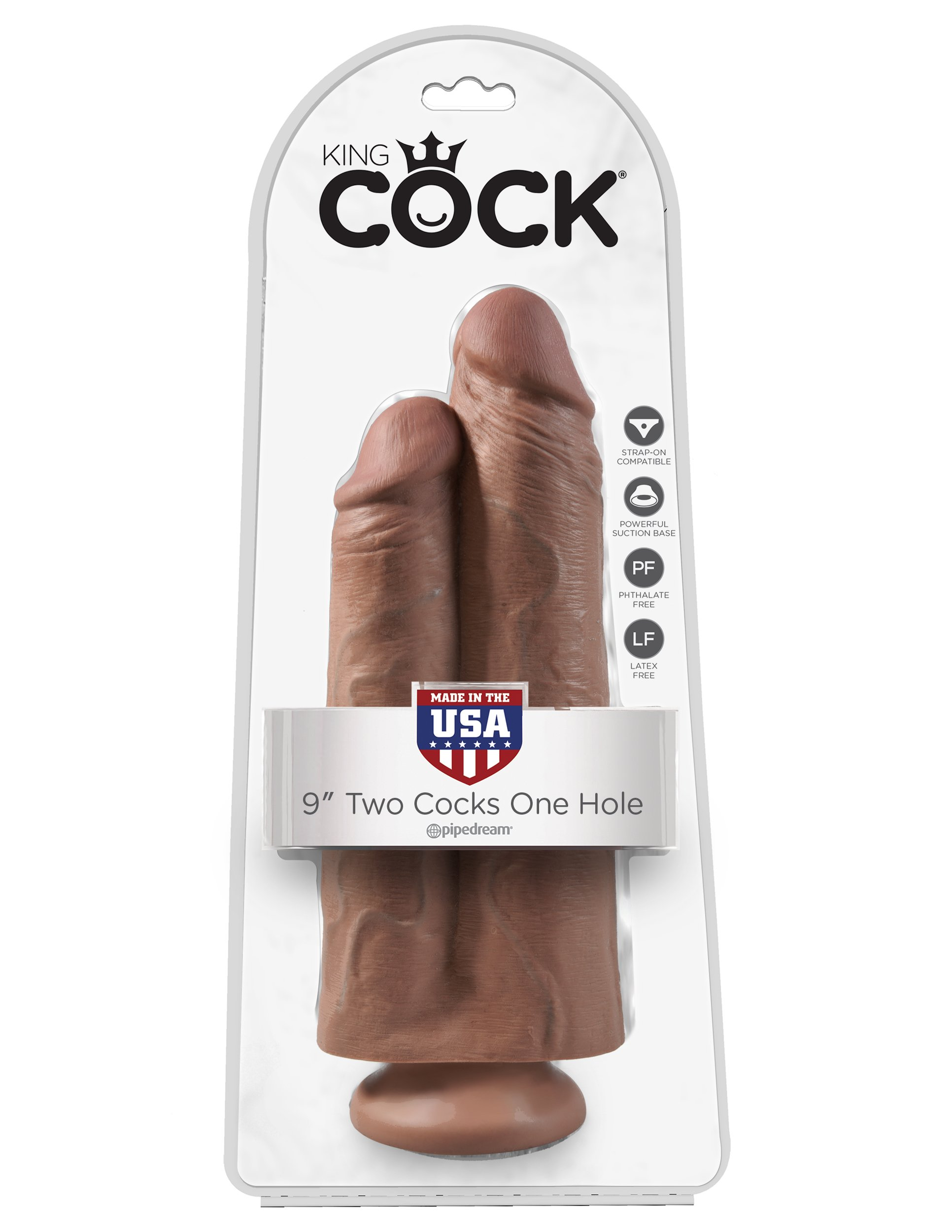 King Cock 9 '' Inch Tan Dildo, Two Cocks One Hole, Suction Base, USA Made, Pipedream