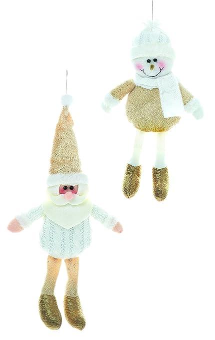 Dos decoraciones para muñecos de peluche de felpa colgantes de fieltro de 25cm con detalles brillantes