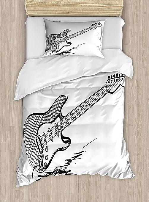 Juego de ropa de cama extralarga, funda de edredón para guitarra ...
