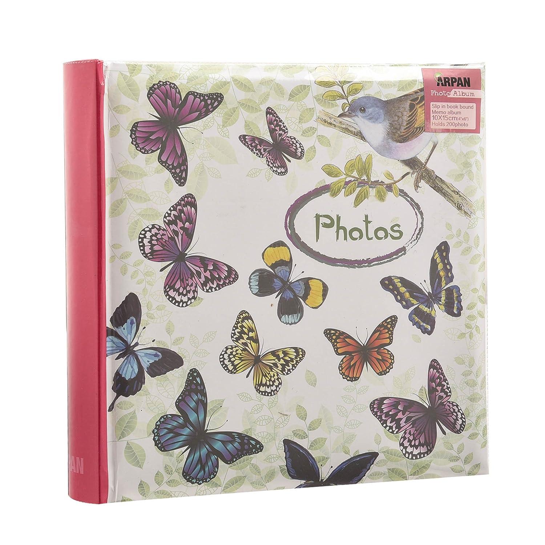 Arpan - Album per foto con tasche e spazio per appunti, per 200 foto da 10 x 15 cm, motivo vintage con farfalle AL-9771