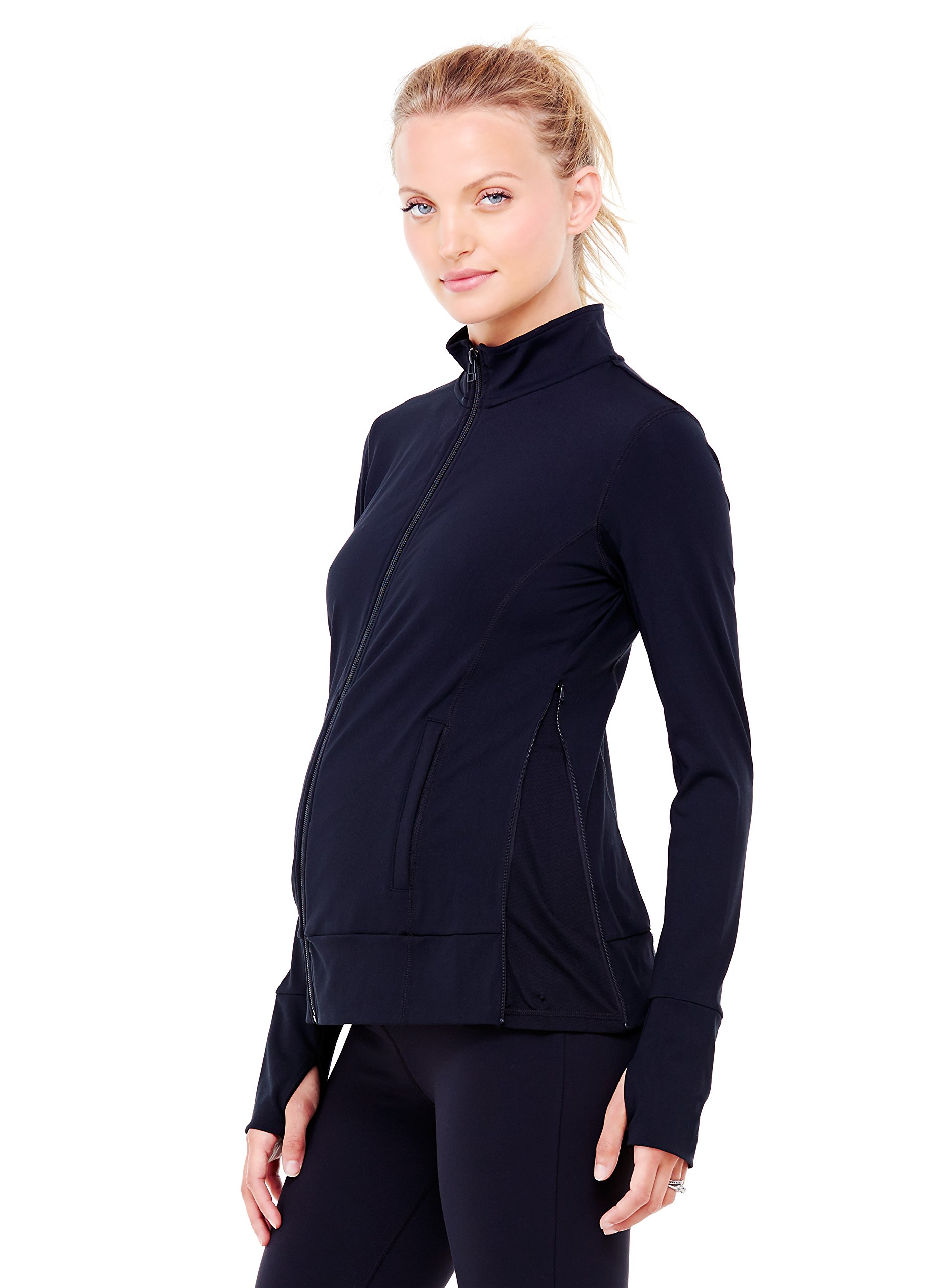 Ingrid & Isabel Women's Maternity Side Zip Active Jacket, Jet Black, Medium