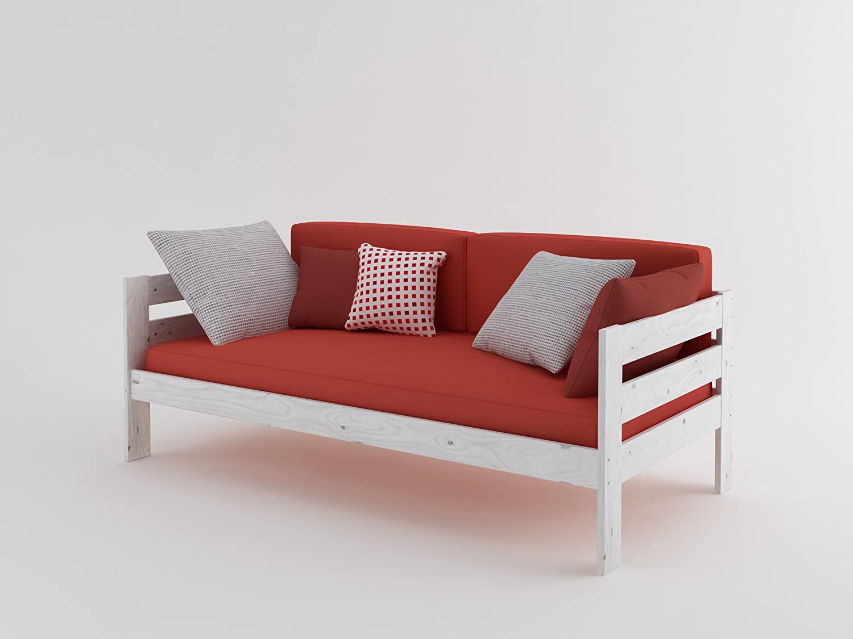 Cama Sof De Madera Completa Con Colch N 90_x_200_cm Blanco  # Muebles Lufe Instrucciones