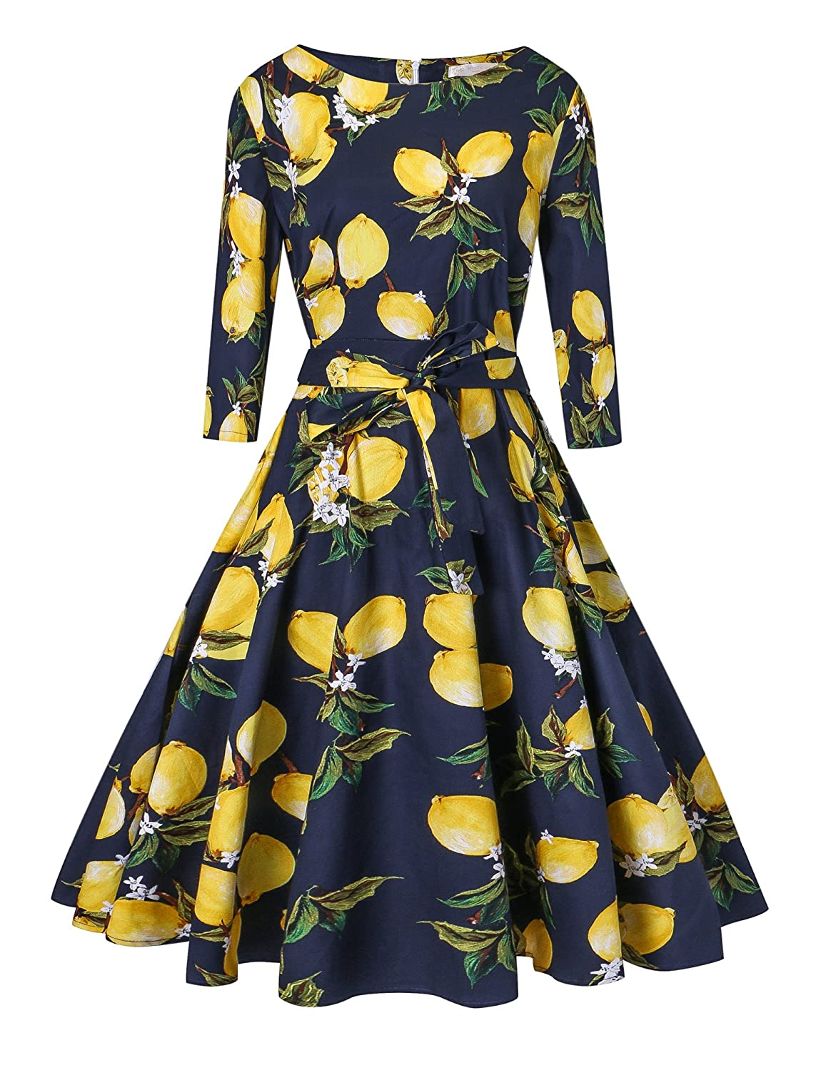 1950's Long Sleeve Retro Floral Vintage Dress with Defined Waist Design