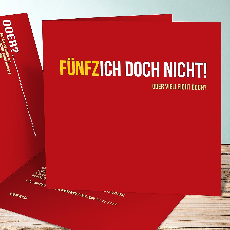 Einladungen 50 Geburtstag Gestalten, Fünfzich 20 Karten, Quadratische  Klappkarte 145x145 Inkl. Weiße Umschläge, Rot: Amazon.de: Küche U0026 Haushalt