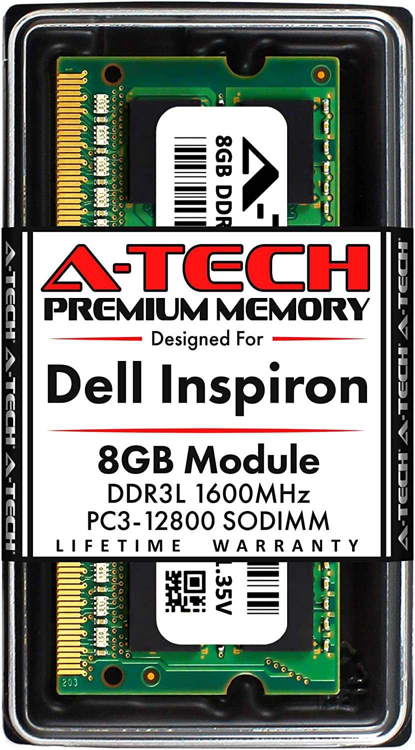 A-Tech 8GB RAM for Dell Inspiron 22 3263, 3265 All-in-One | DDR3/DDR3L 1600MHz SODIMM PC3L-12800 204-Pin Non-ECC Unbuffered Memory Upgrade Module