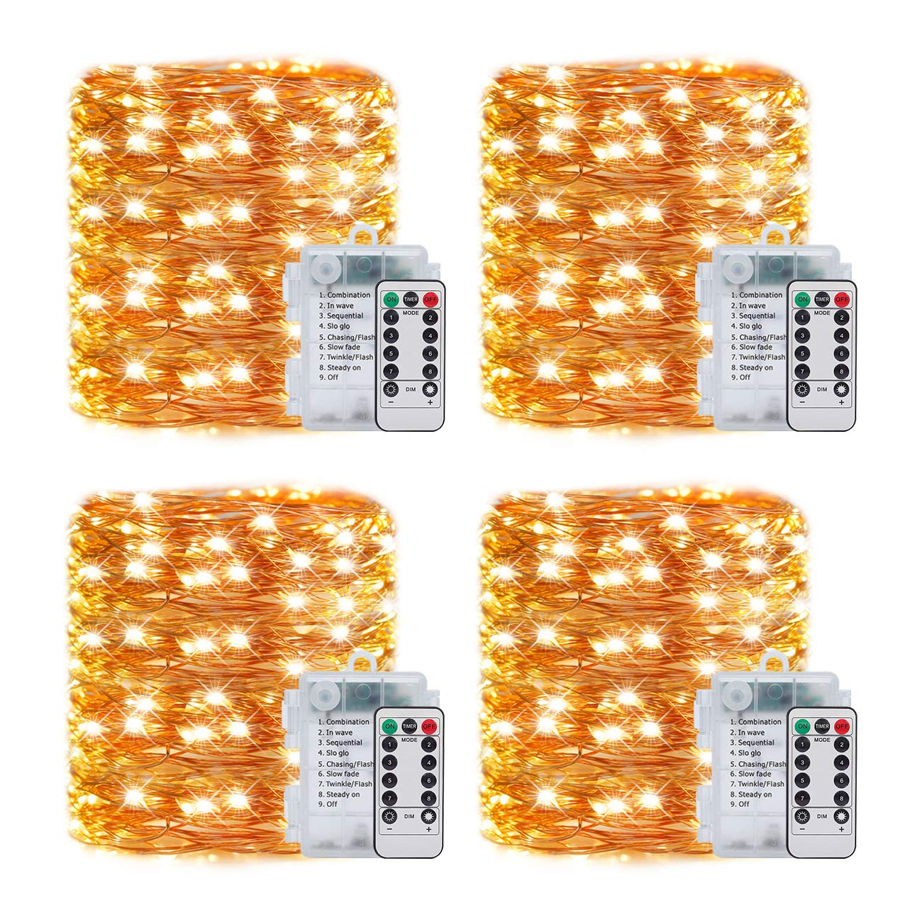 LEDIKON 4 Pack 33Ft 100 Led Fairy Lights Battery Operated Mini String Lights with 8 Modes Remote Control and Timer,Waterproof Firefly Twinkle Lights for Bedroom Wedding Chirstmas Decor(Warm White)