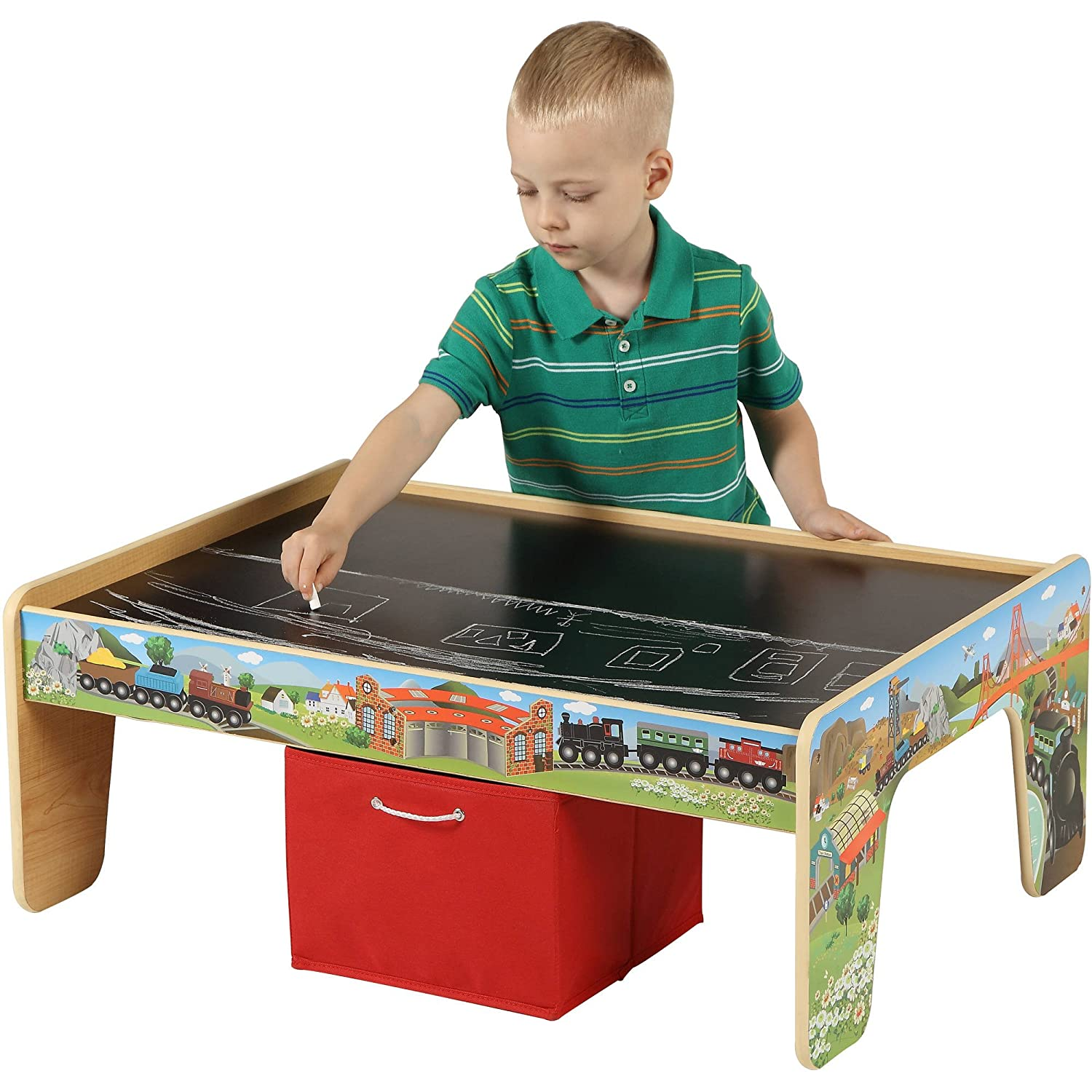 Amazon.com: 50 Piece Train Set With 2 In 1 Activity Table: Toys U0026 Games