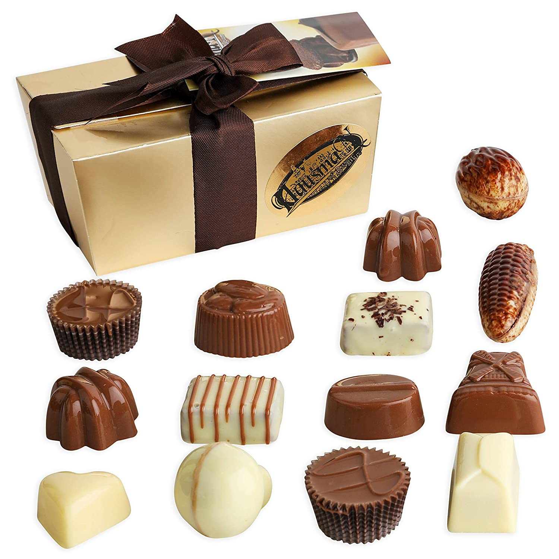 Hausman Real Premium Belgian Chocolates Pralines Exclusive Collection. Gourmet Milk Chocolate Assortment Gift Ballotin Box. 8 ounces, 14 count