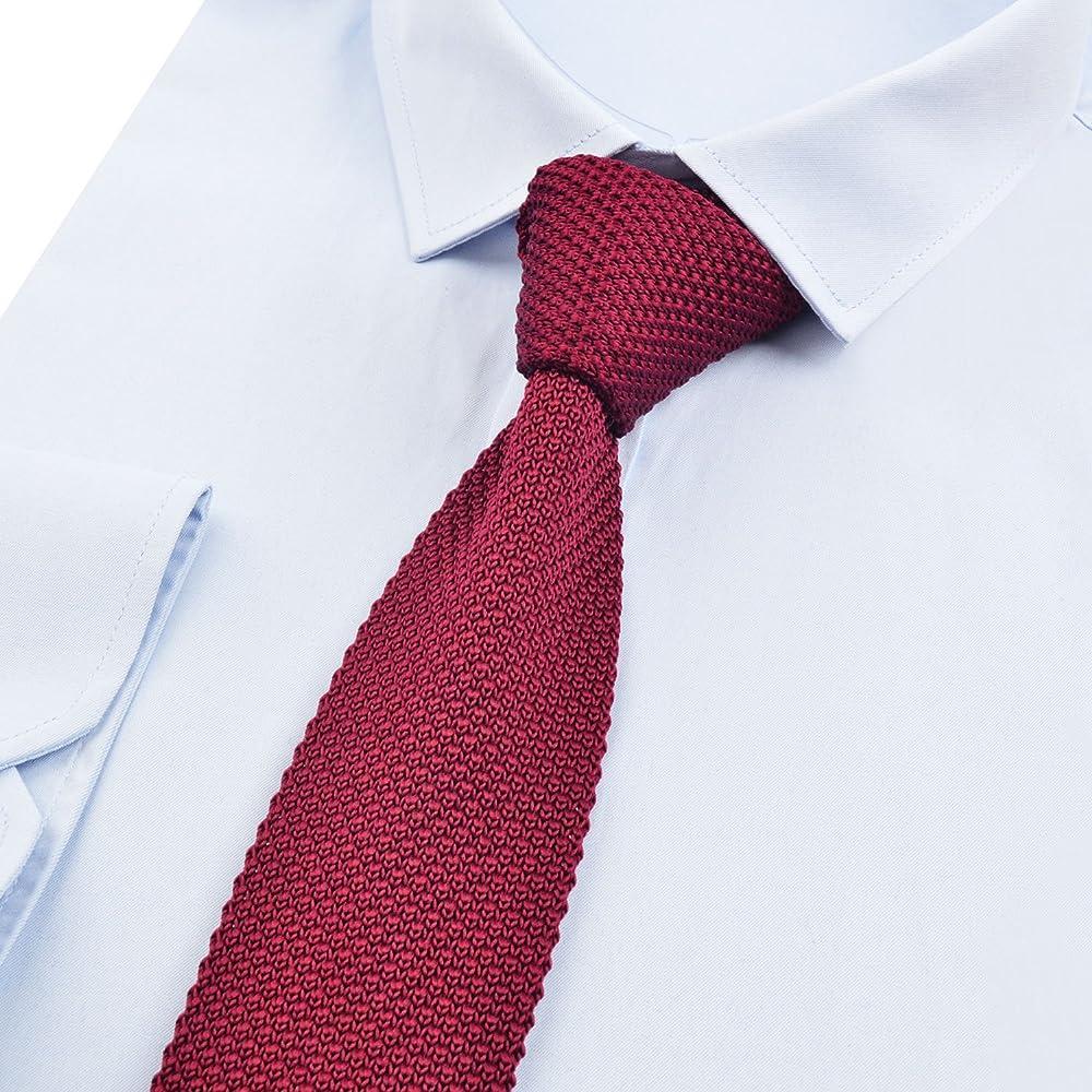 Alizeal Estructura–Corbata Ancha de Punto para Hombre Burdeos ...