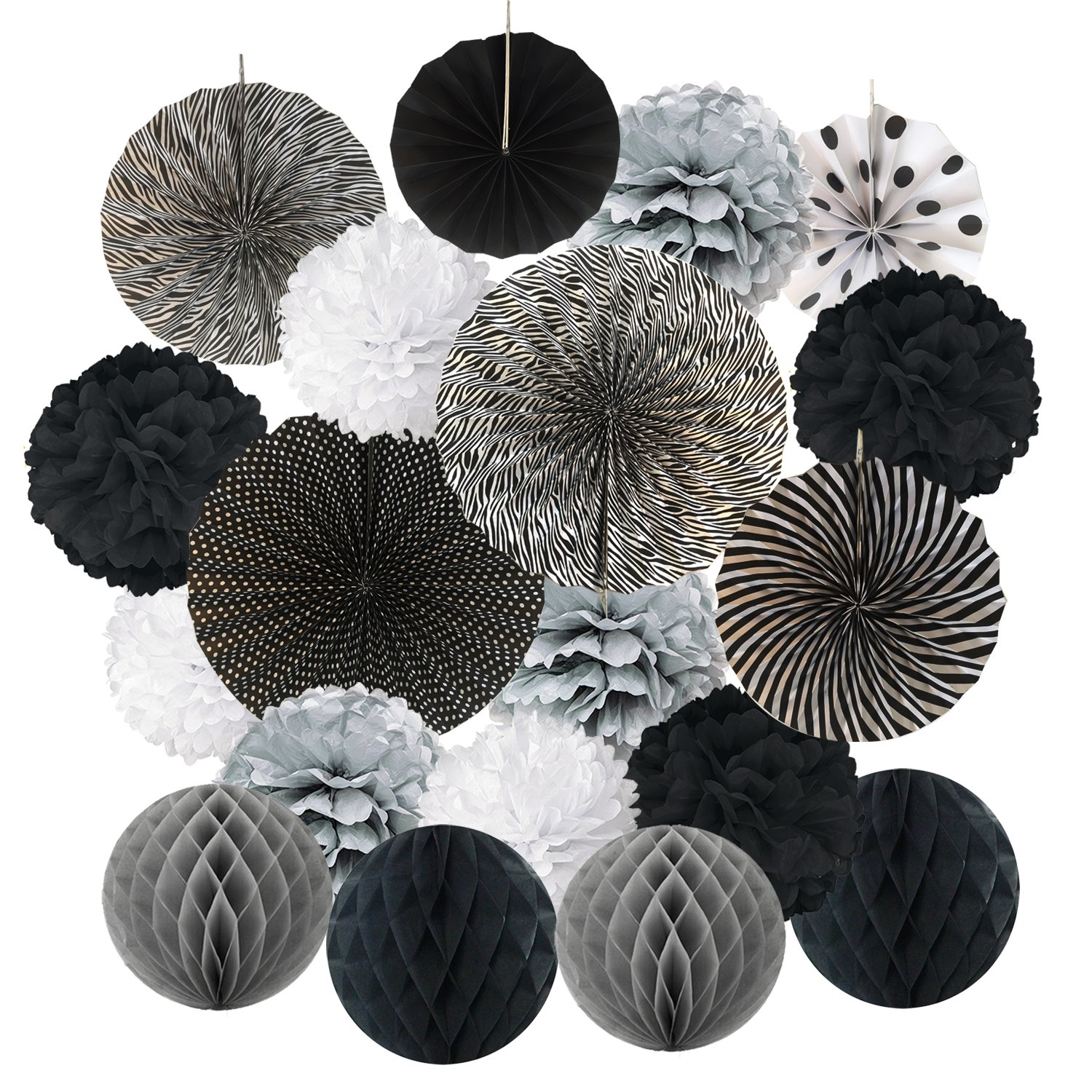 Amazon Chotika 23pcs Black White Tissue Paper Flowers Pom Poms