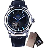 Winner Mechanical Watches Skeleton Blue Ocean Dial Polygonal Design