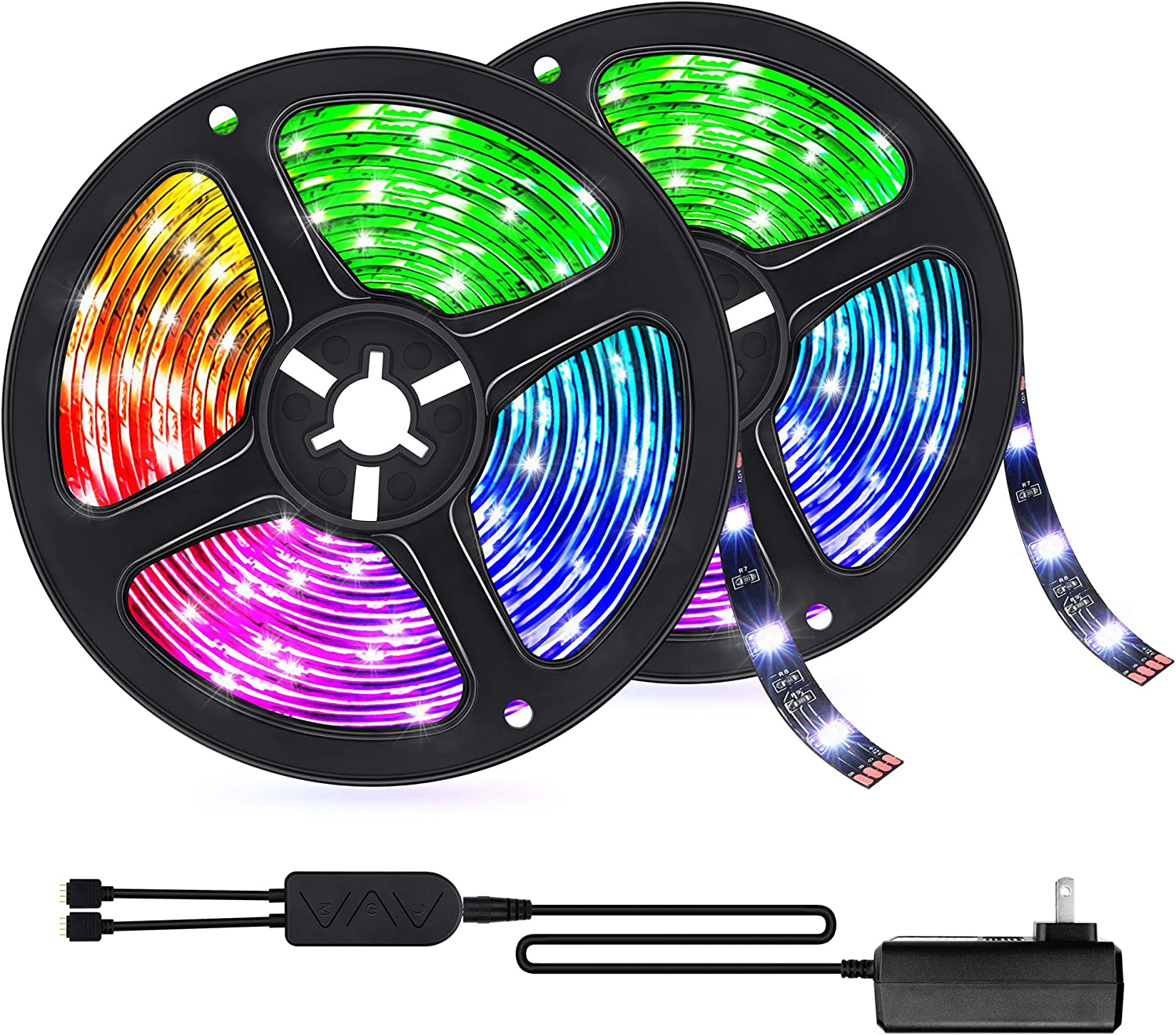 Smart WiFi LED Strip Light 32.8ft Work with Alexa Google Home, Voice APP Control TV Backlights Music Sync 16 Million Colors Changing RGB Light Strips Kit Gaming Tape Rope Light for Bedroom Bar Party