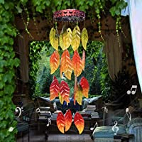 AMWGIMI Solar Lights Wind Chimes Garden Decoration Colorful Autumn Leaves Outdoor Decor Hanging Garden, Patio, Balcony…