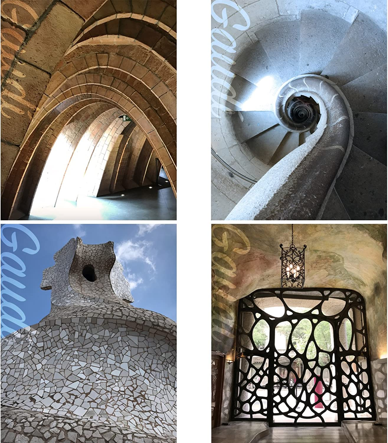 Gabby's Choice Architect Gaudi Wall Art Decor Prints - Set of Four Color Photos (8x10) Unframed - Great Gift for Home Decor