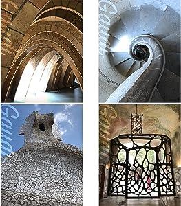 Gabby's Choice Architect Gaudi Wall Art Decor Prints - Set of Four Color Photos (8x10) Unframed - Great Gift for Home Decor