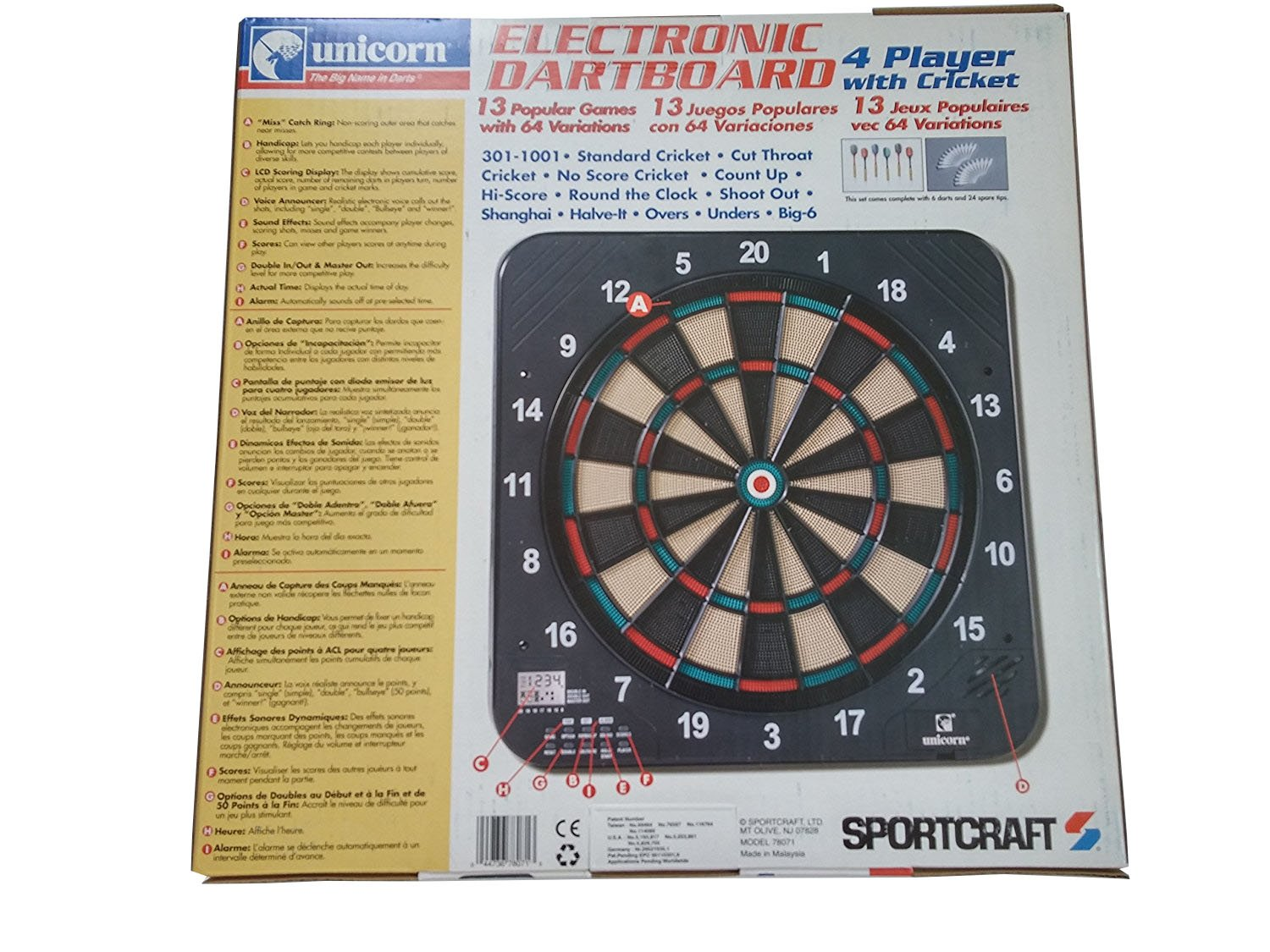 Amazon Com Sportcraft Electronic Dartboard 4 Player With Cricket
