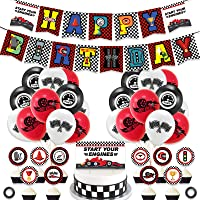 Race Car Hot Wheels Party Decoration and Supplies - Happy Birthday Race Car Banner, Balloons and Racing Car Cake Toppers…