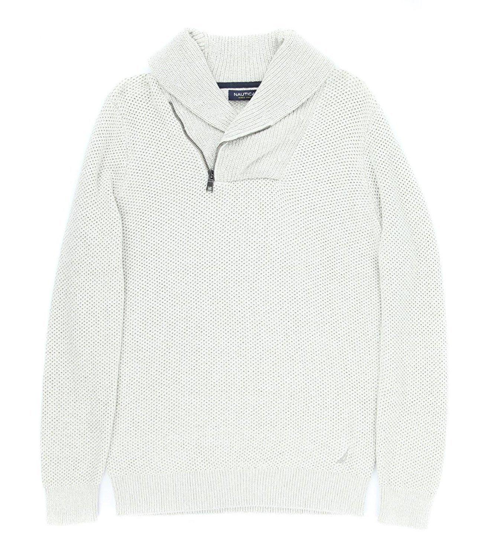Nautica Men's Textured Shawl Collar Asymmetrical Zipper Sweater [M] [Sand Drift]