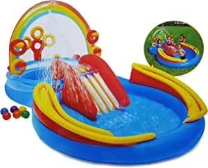 Intex Rainbow Ring Inflatable Play Center Family Water Play Inflatable Summer Paddling Pool for Kids