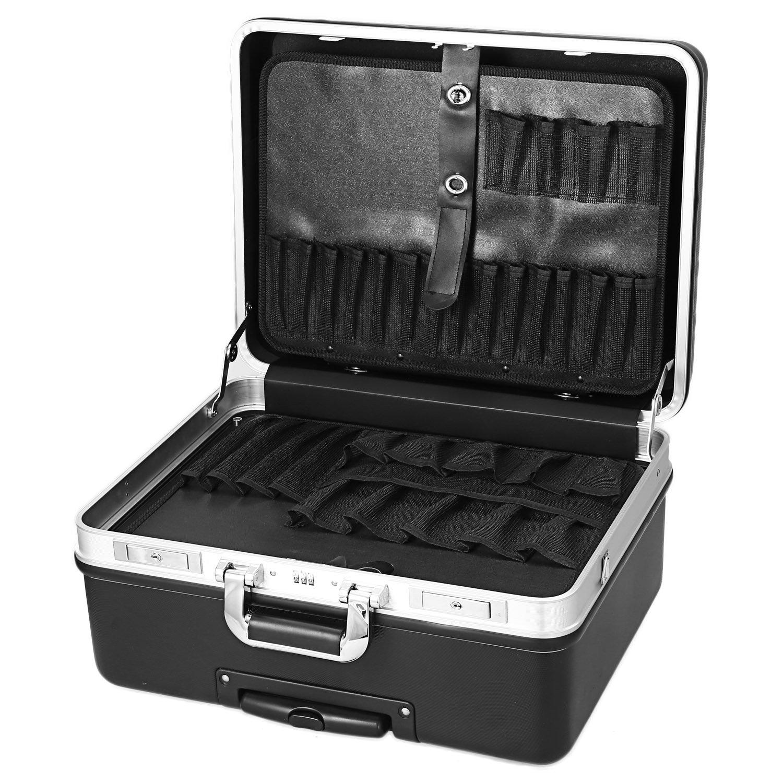 Rolling Tool Box Tool Organiser Locking Stackable Tool Box with wheels (Black) by Binxin