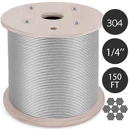 Amazon.com: Mophorn 304 - Cable de acero inoxidable de 2.8 x ...