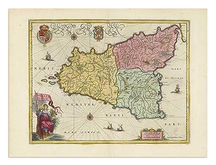 Agrigento Italy Map.Amazon Com The Blaeu Prints Agrigento Sicilia Historical Map