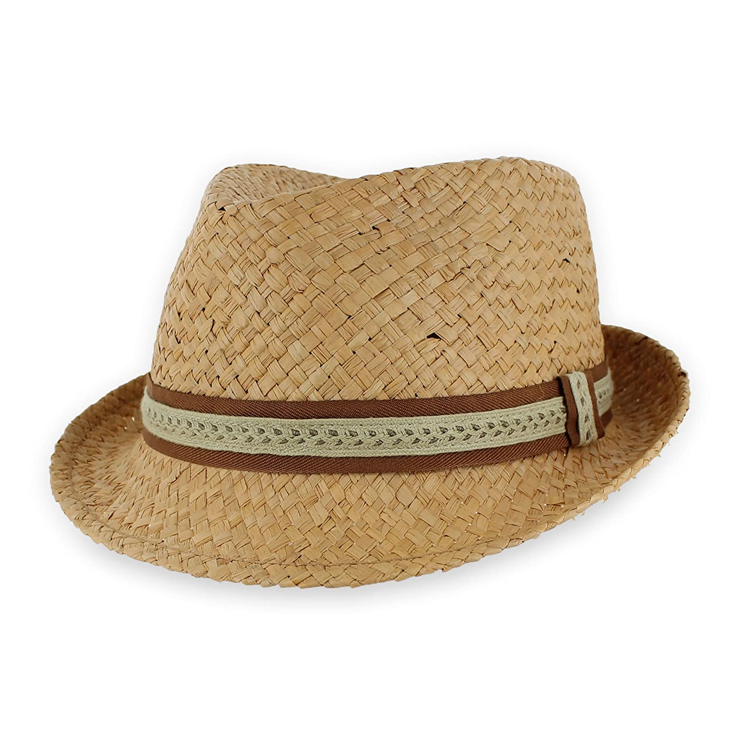 Men Women Summer Woven Straw Trilby Fedora Hat in Ivory Tan Black