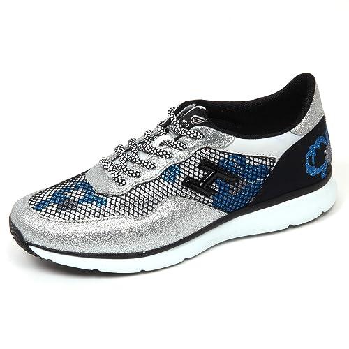 D0274 sneaker donna HOGAN H254 scarpa argento/nero glitter rete shoe woman