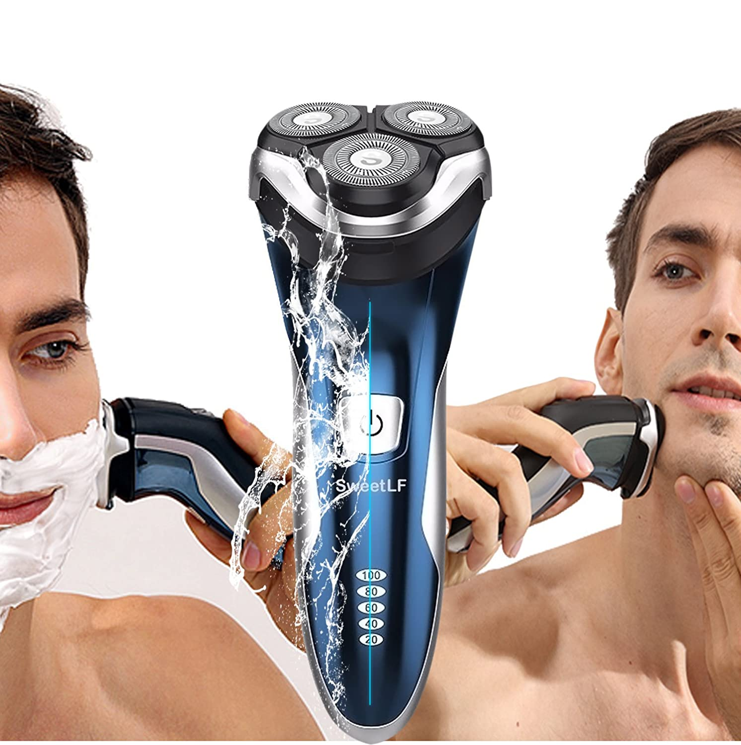 Men's 3D Electric Shaver, Rechargeable Waterproof Rotary Razor with Pop-up Trimmer - Blue