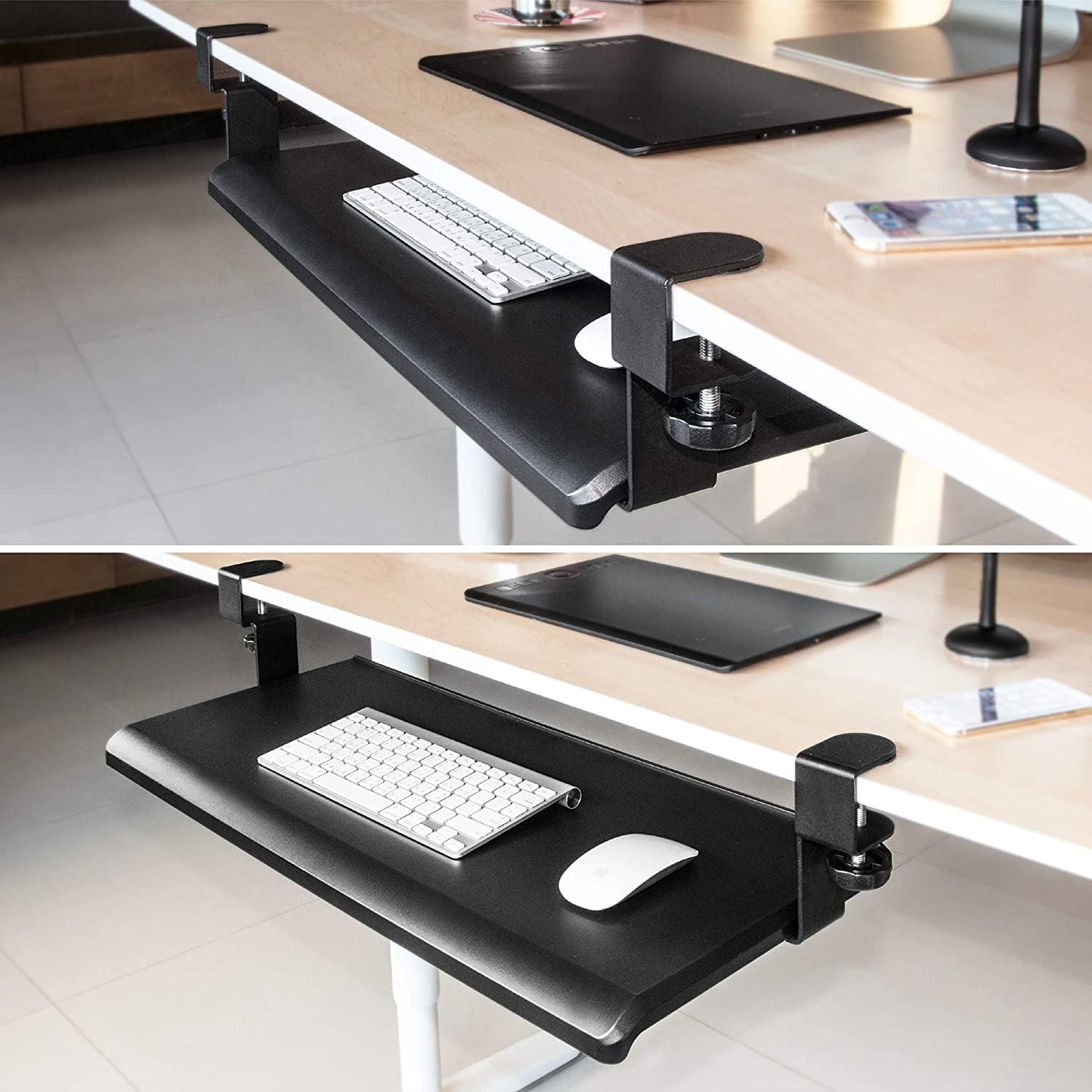 Large Surface 27.5 inch Under Desk Ergonomic Keyboard Tray Easy Tool-Free Install EHO Prime Clamp-On Retractable Adjustable Keyboard Tray