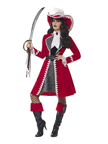 Smiffys Smiffys-45533S Disfraz de capitana auténtica, Vestido, Chaqueta, Corbata y fu, Color Rojo, S - EU Tamaño 36-38 45533S