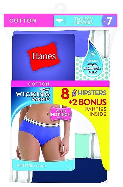 06d8945b1c02 Hanes Women's 6 Pack Comfortsoft Sporty Hipster (Bonus +2), Assorted, ...