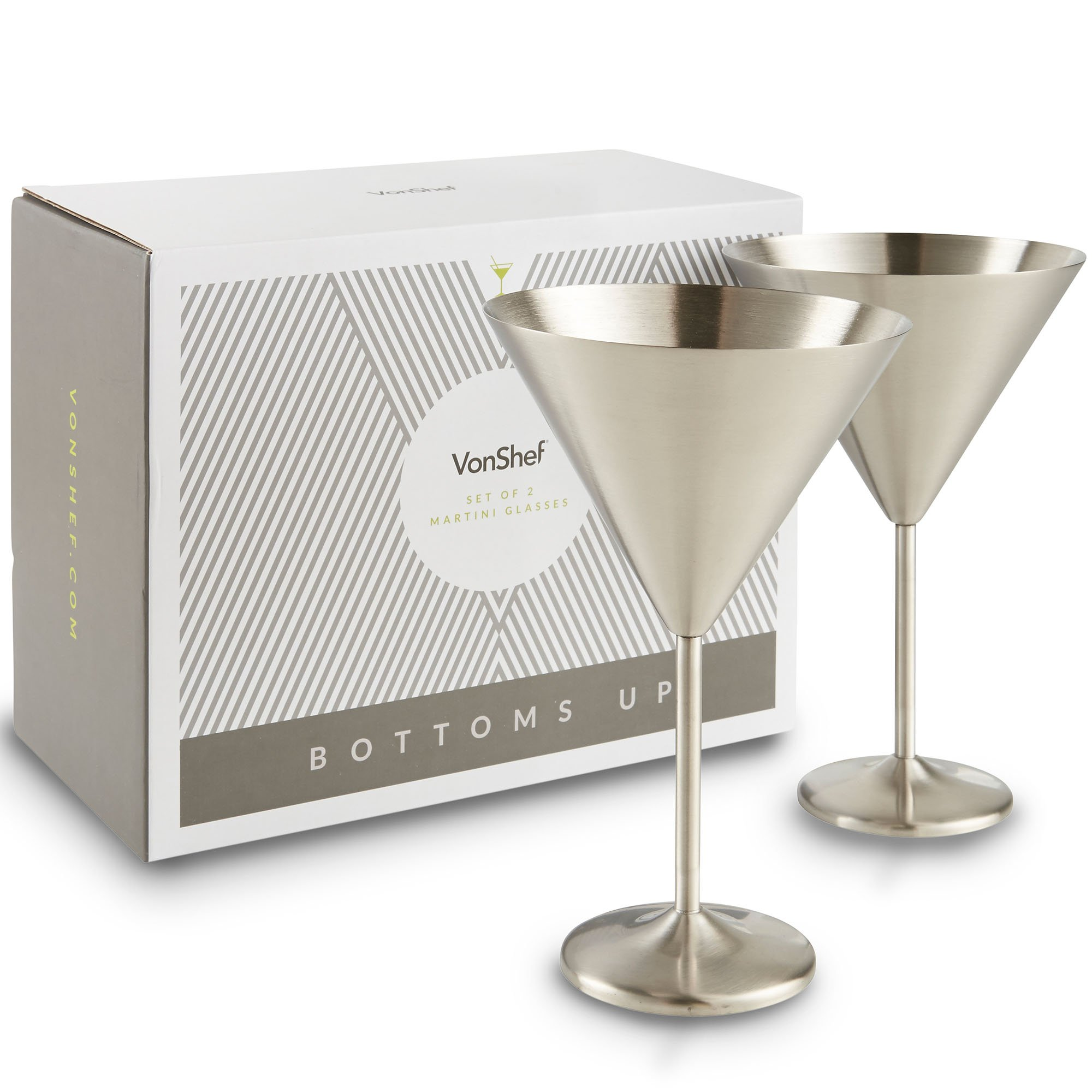 VonShef Large Martini Cocktail Glasses Set, Silver Brushed Stainless Steel, Set of 2