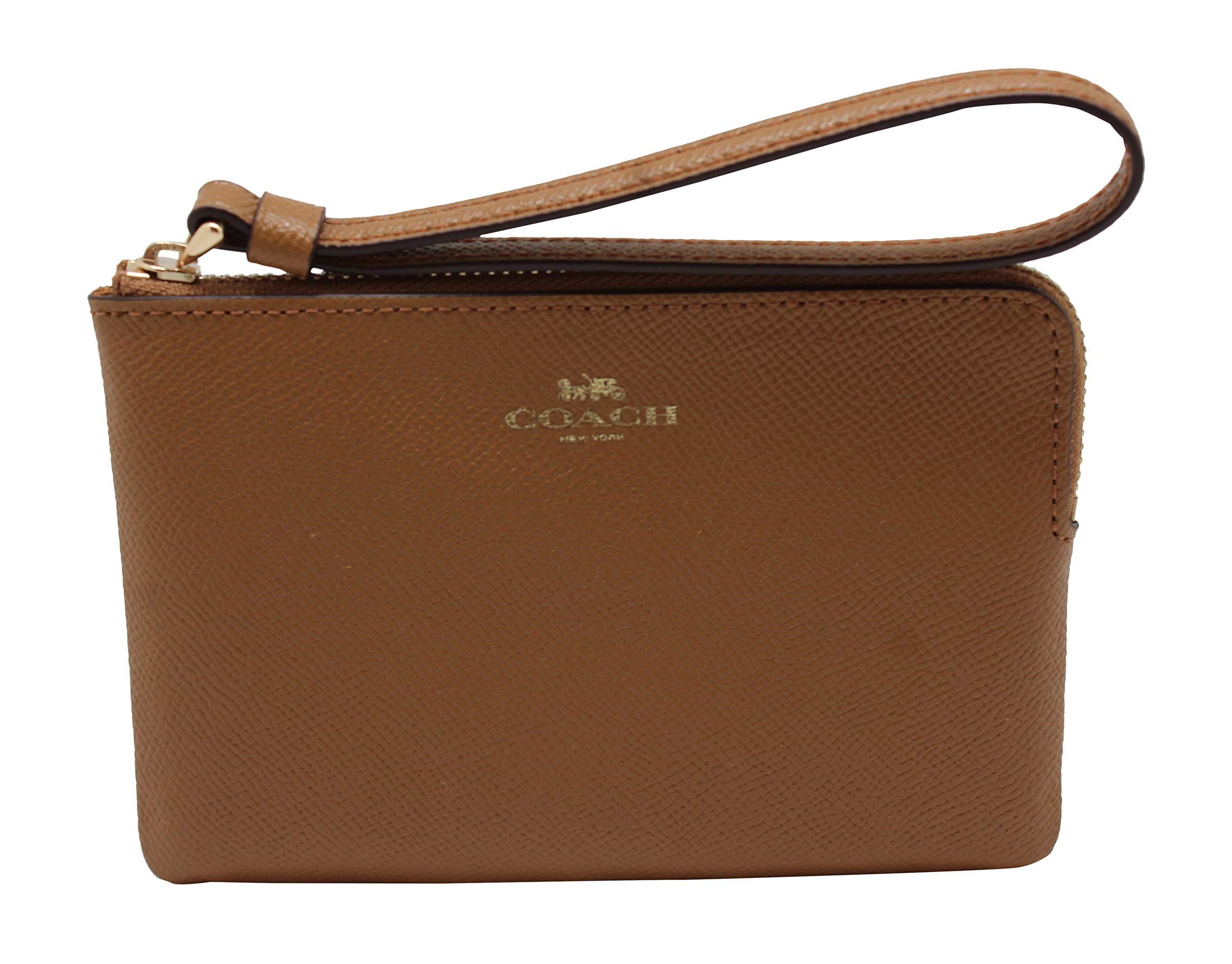 Coach Crossgrain Leather Corner Zip Wristlet Wallet (Light Saddle)