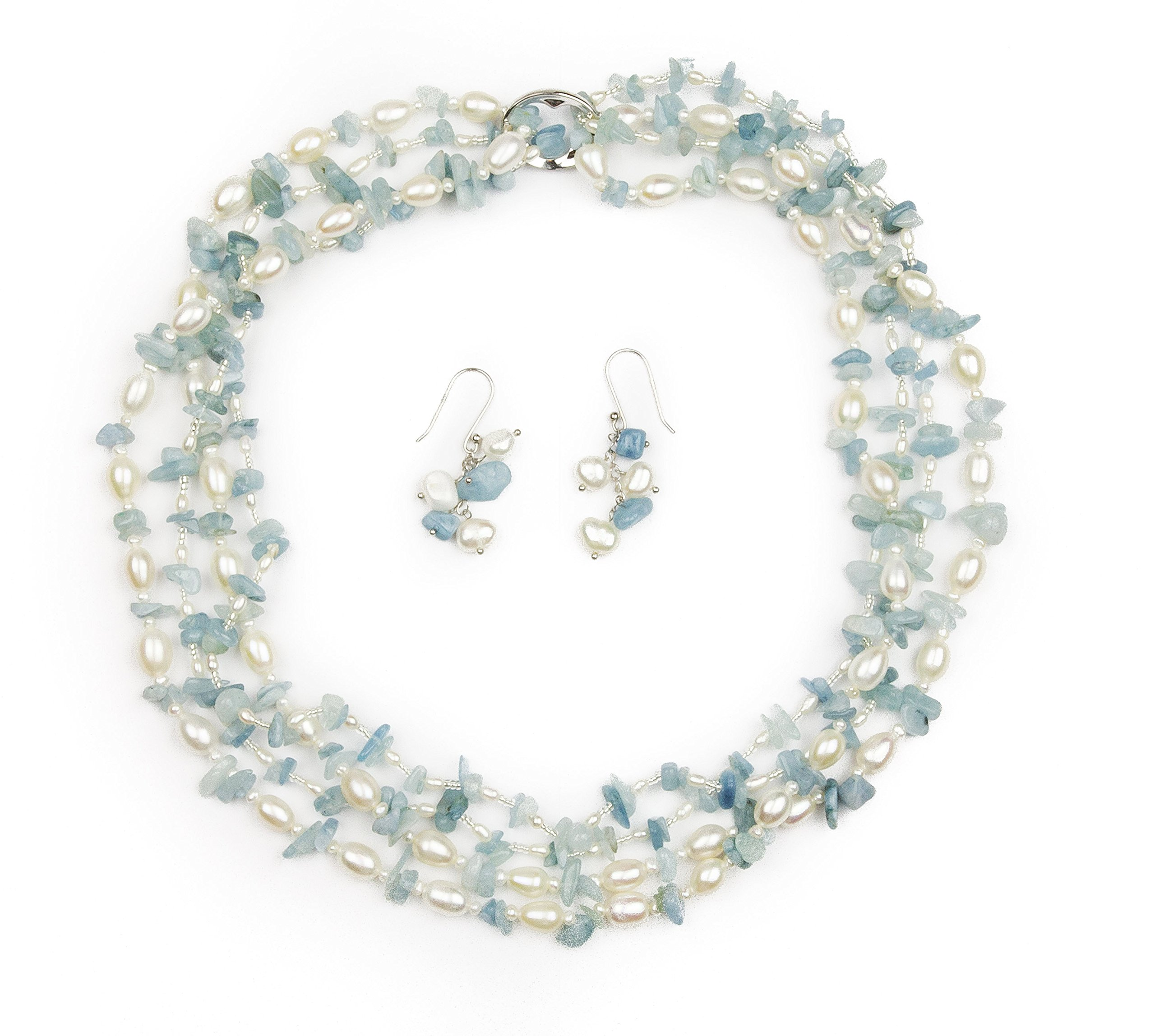 HinsonGayle 'Sky' 2-Strand Freshwater Cultured Pearl & Aquamarine Necklace & Dangle Earrings-40 in length by HinsonGayle Fine Pearl Jewelry (Image #2)