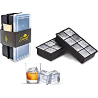 SUNSET Silicone Ice Cube Trays – Set of 2 Large Ice Cube Molds  Giant Square Ice Cube Maker for refrigerator   Ice…