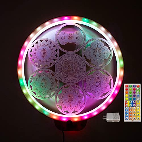 ZenVizion 13.5″ ZenHalo LED 7 Chakras Wall Decor Mandala Wheel of Life