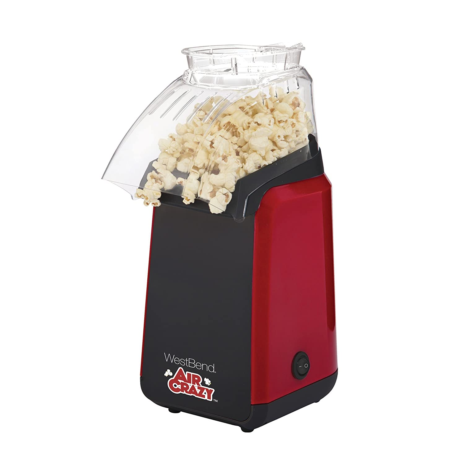 West Bend 82418R Air Crazy Hot Air Popcorn Popper Pops Up To 4 Quarts of Popcorn Using Hot Air, 4-Quart, Red