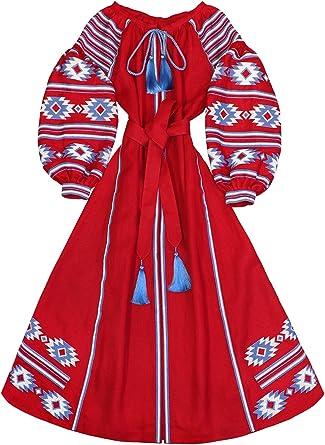 Embroidered Red Color Long Boho Dress Bohemian Style Ukrainian Vyshyvanka Dress Women Natural Linen Blue Embroidery