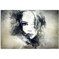 120x80 cm - MUURBEELD handbeschilderd gezicht vrouw meisjes abstract - canvas foto op spieraam modern stijlvol - afbeeldingen en decoratie