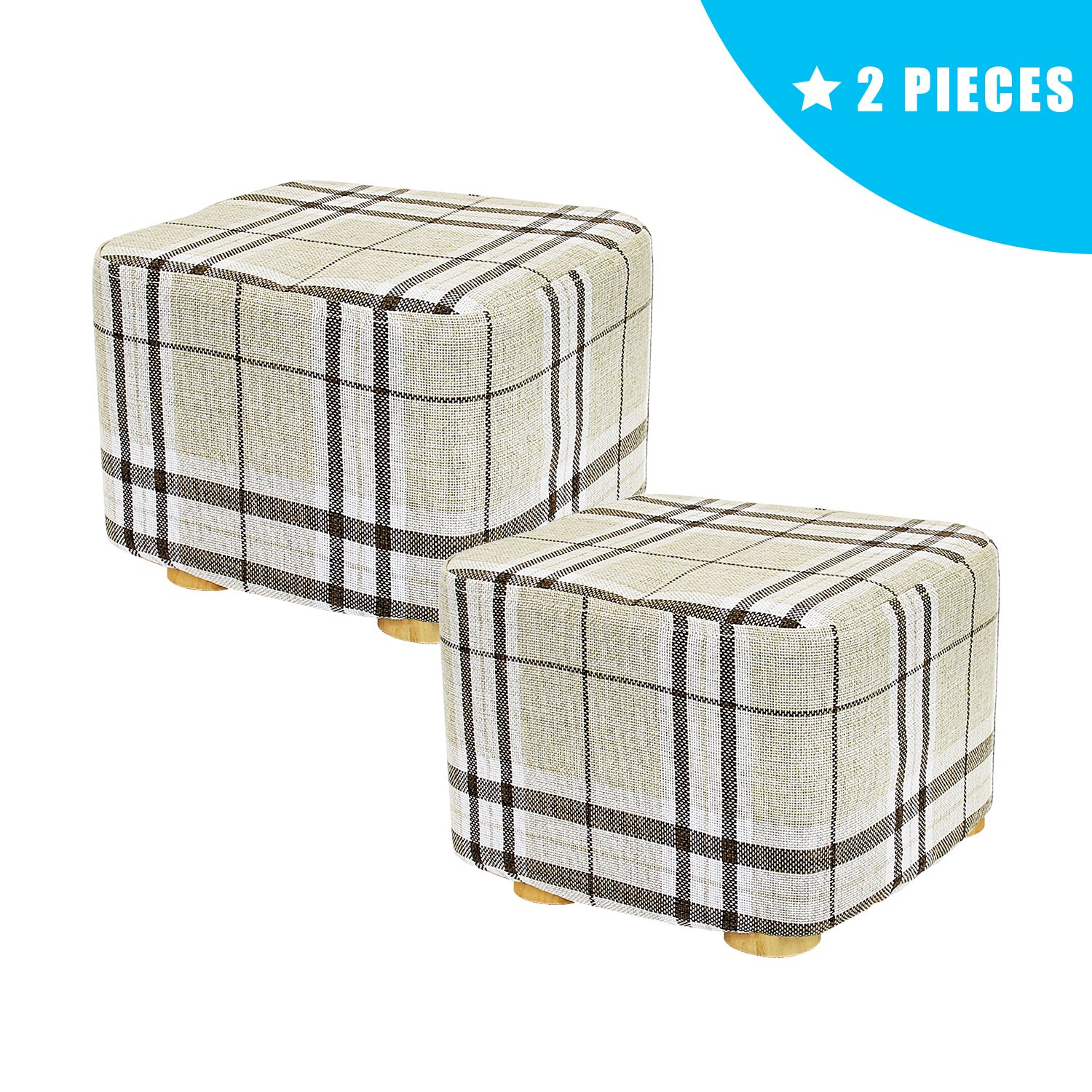 Jerry & Maggie - 2 Pieces Footstool Fabric Ottomans Bench Seat Foot Rest Step Stool with Feet Protection Design | Cubic - Short 4 Leg - Striped Cover