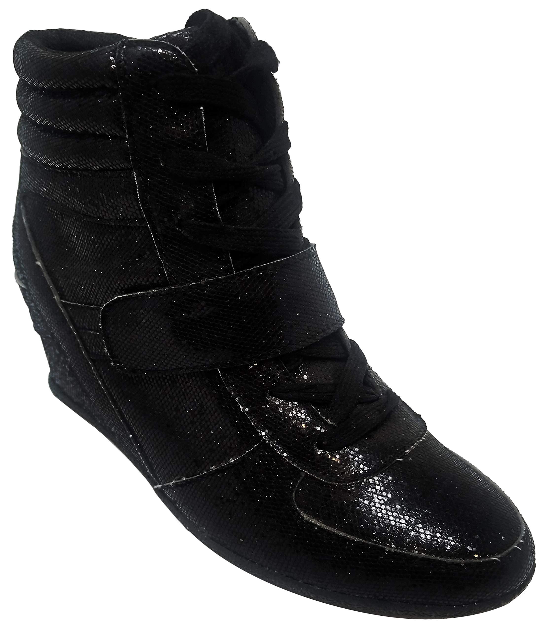 5a63d8cf129a ... Wedge High Top Fashion Sneaker Laceup Platform Wedge Heeled Fun Cute  Trendy Flashy Studded Fun Slip On Bootie Shoe for Women Teen Girl (Size 7
