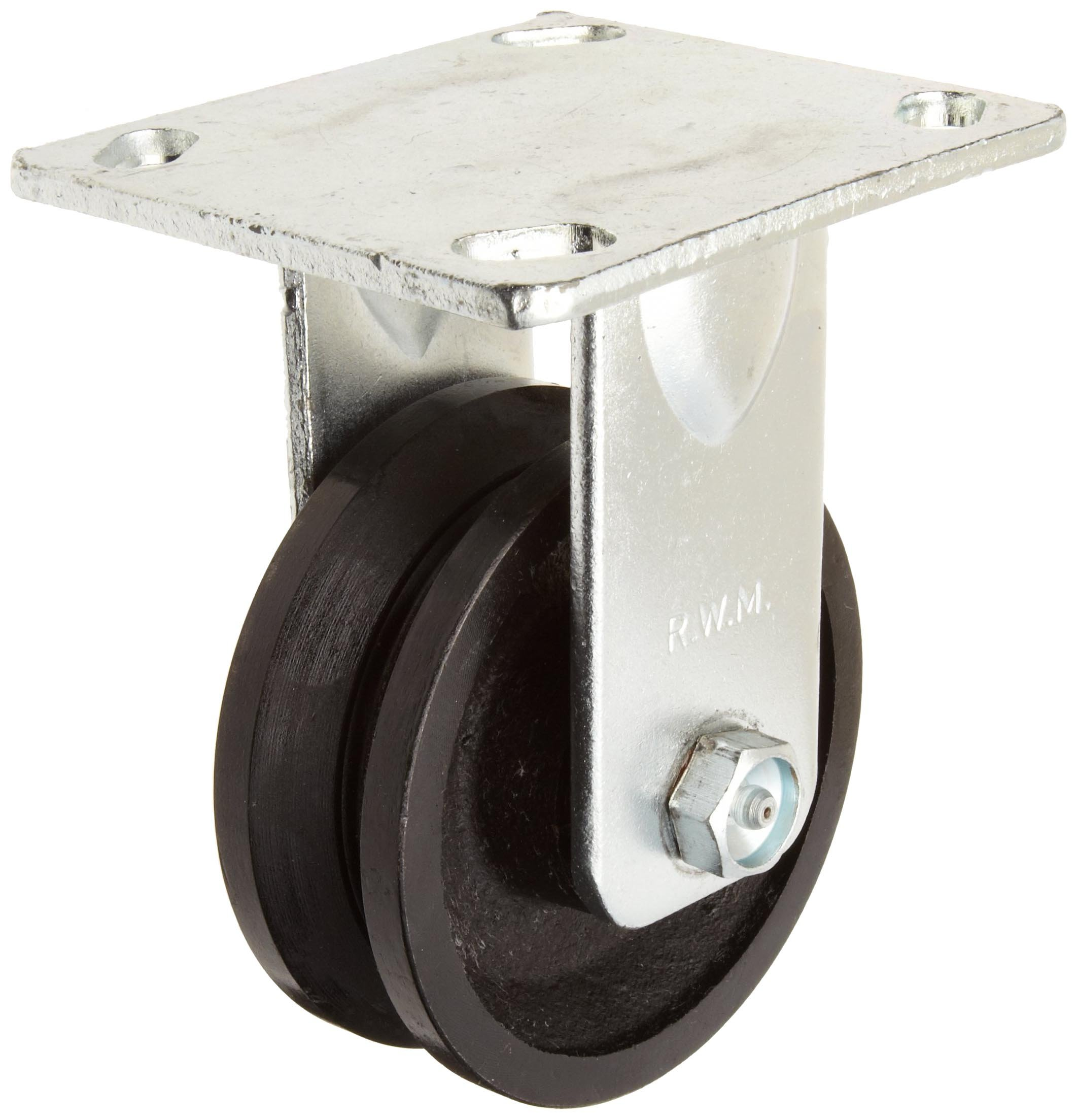 RWM Casters 40 Series Plate Caster, Rigid, V-Groove Iron Wheel, Roller Bearing, 700 lbs Capacity, 4'' Wheel Dia, 1-1/2'' Wheel Width, 5-5/8'' Mount Height, 4-1/2'' Plate Length, 4'' Plate Width by RWM Casters