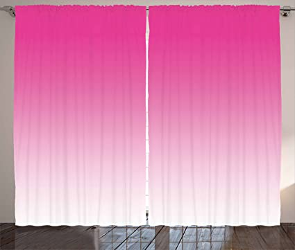 Amazon.com: Ambesonne Ombre Curtains, Hot Pink Candy and Cream ...