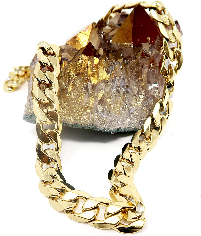 Collar de cadena de eslabones cubanos de oro de 9,2 mm para hombres y mujeres, chapado en oro real de 24 quilates, corte de diamante, estilo hip hop sólido, joyería de regalo